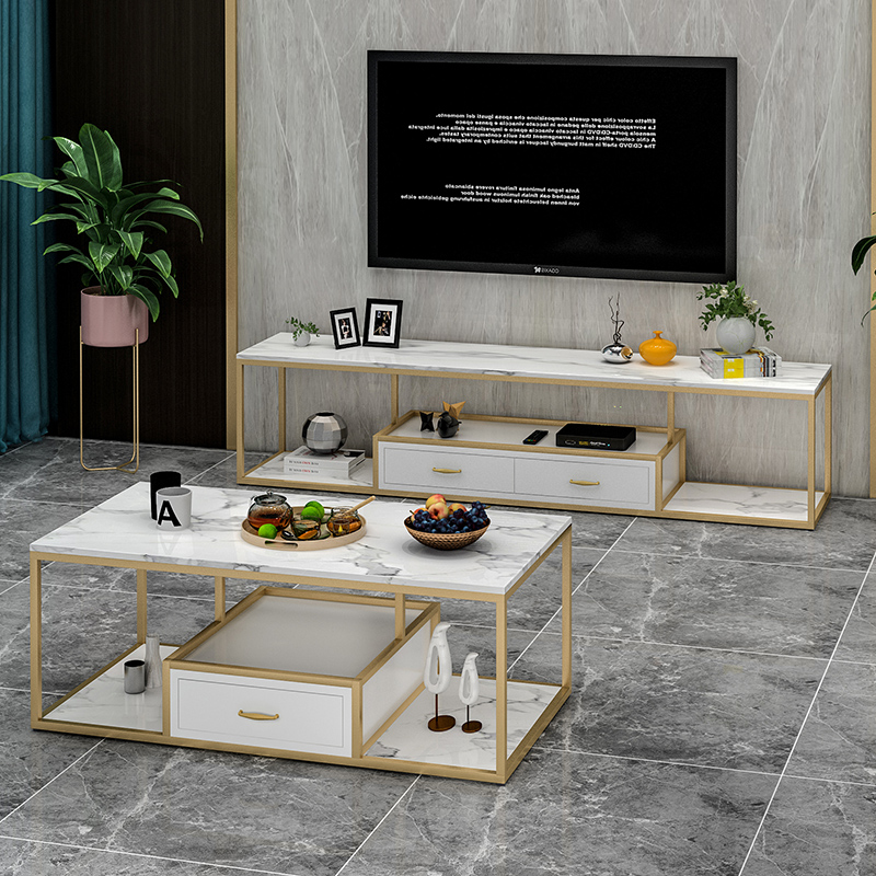 Nordic light luxury furniture marble tieyi TV cabinet modern simple living room TV cabinet tea table combination set