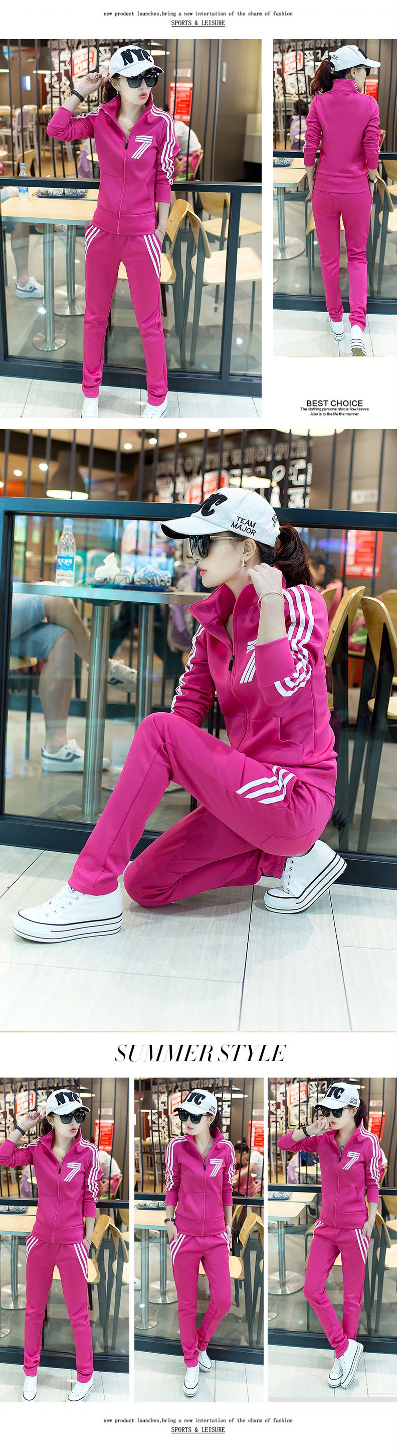 Spring and autumn Korean version of the slim collar zipper casual sportswear suit ladies long-sleeved two-piece suit 19 Online shopping Bangladesh