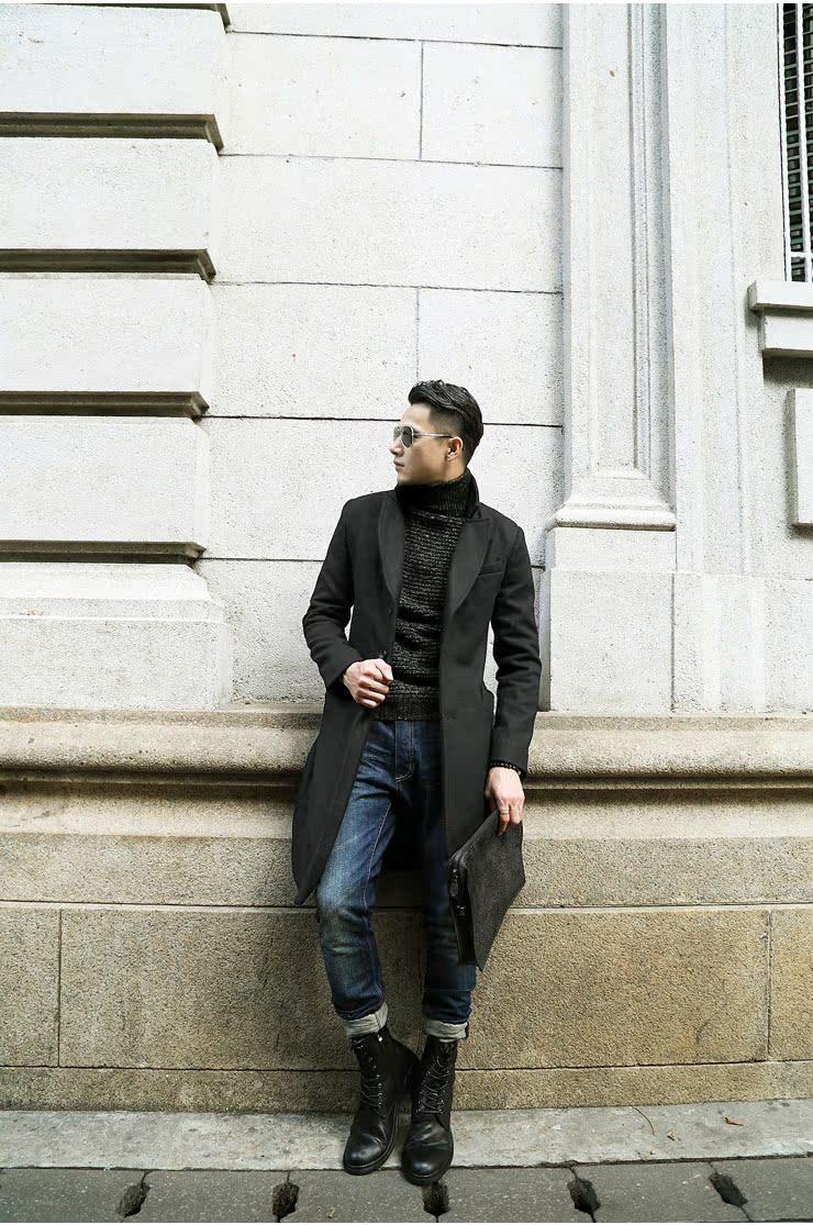 Đặc biệt cung cấp người đàn ông Anh của len len dài coat coat nam mỏng dài áo len nam F179