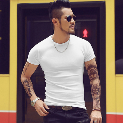 2018 spring new men's round neck Slim short-sleeved T-shirt cotton thread-type men's casual bottoming T-shirt T2067