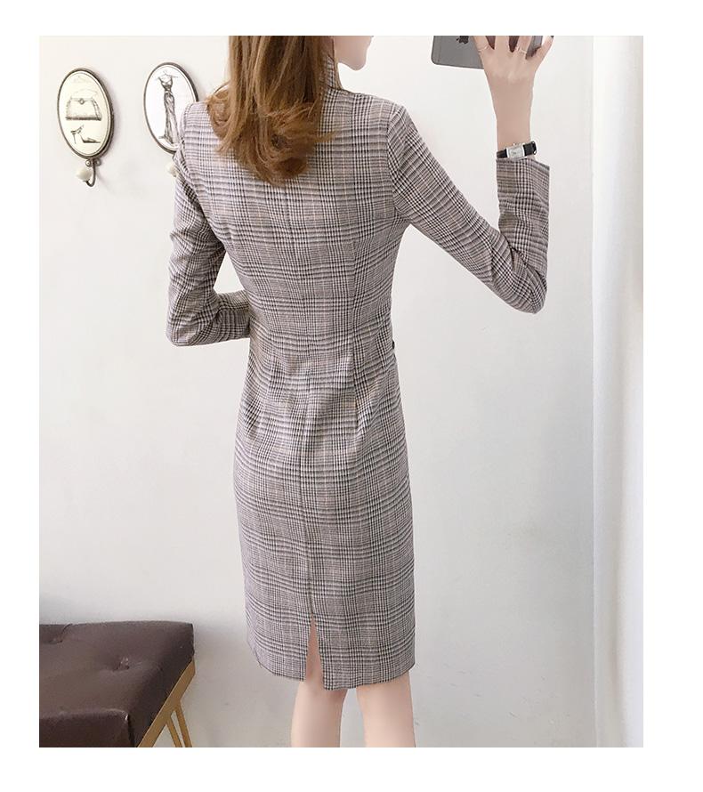西装洋装女早春新款格子条纹长袖修身型显瘦职业包臀裙高腰详细照片