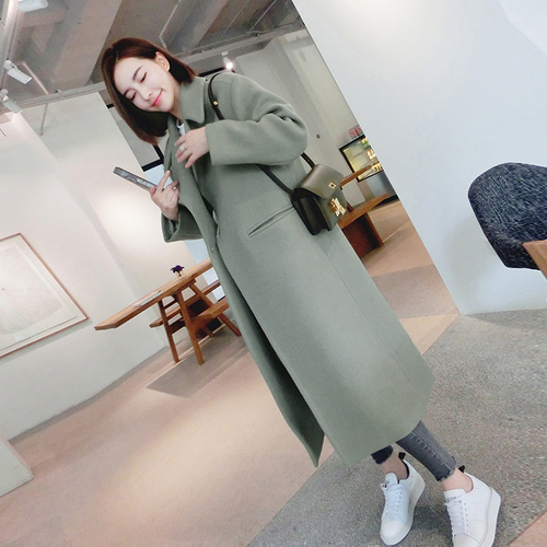Winter new Korean students large lapel casual loose long woolen coat woolen coat winter