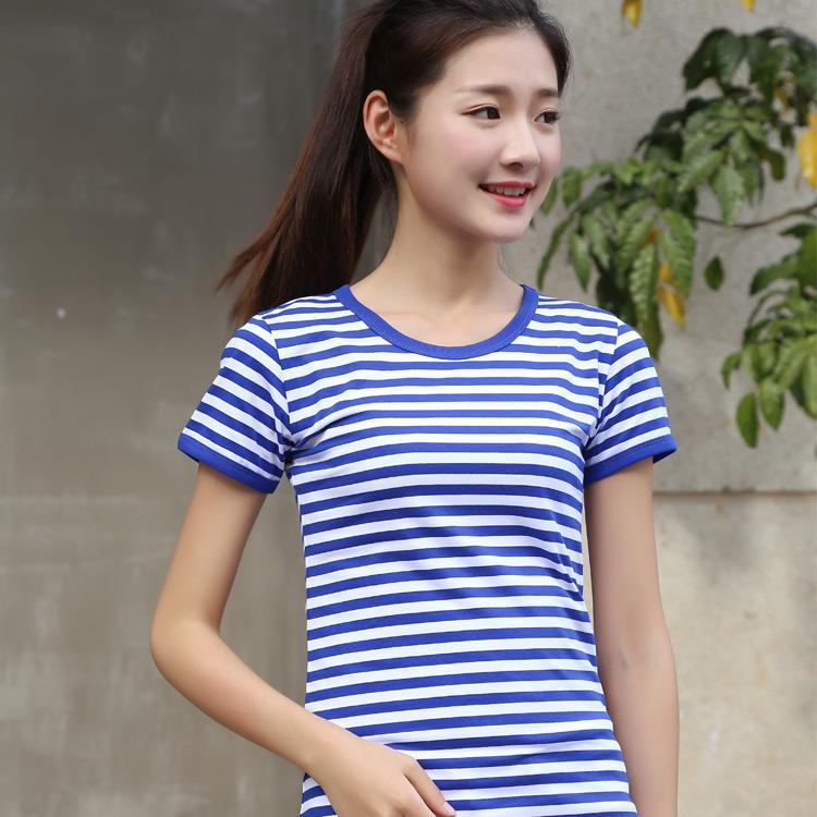 夏季海魂衫短袖t恤女装蓝白条纹纯棉圆领修身款情侣款亲子装半袖