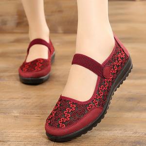 老北京布鞋女旗舰店官方60岁中老年红鞋子老人款大码红鞋妈妈鞋夏
