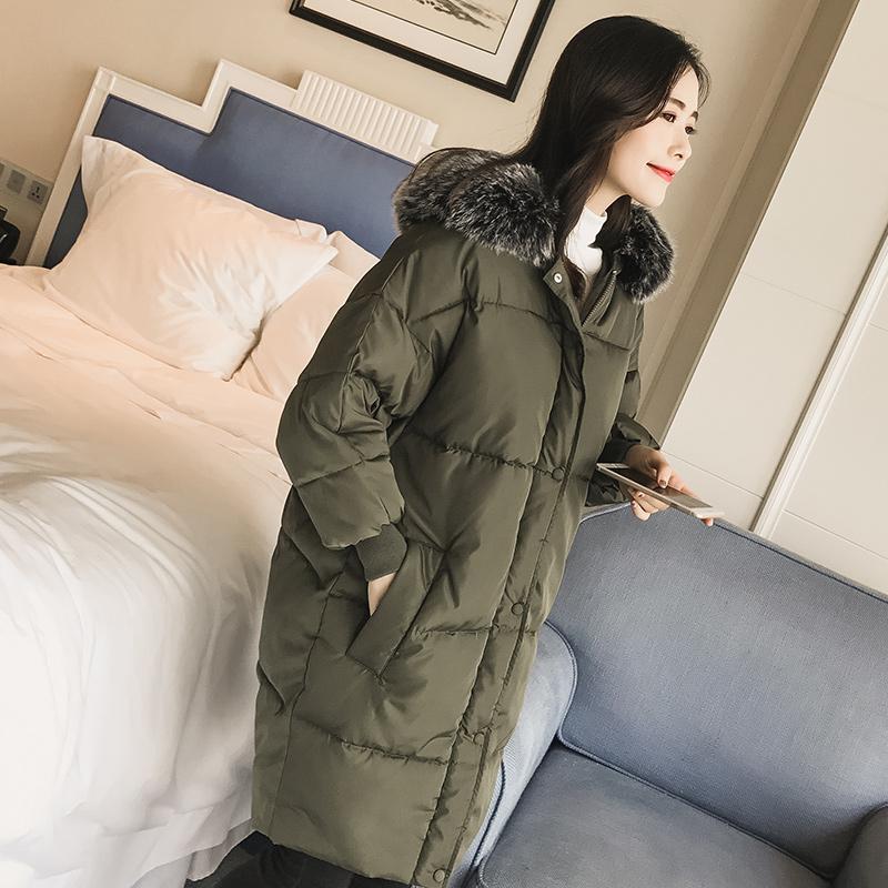 2018新款羽絨棉服中長款女韓版