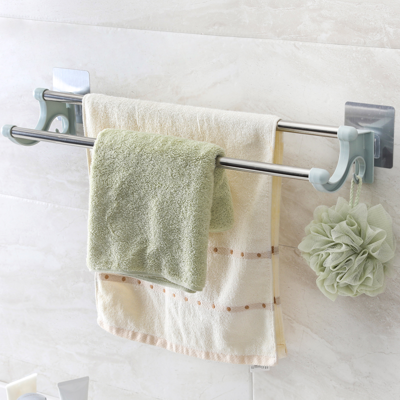 USD 5.48] Pasted stainless steel double Rod towel rack rag shelf ...