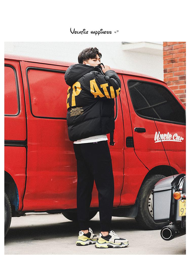 2020冬季韩版宽松男士创意字母加厚棉衣外套301C-2-Y112-P120