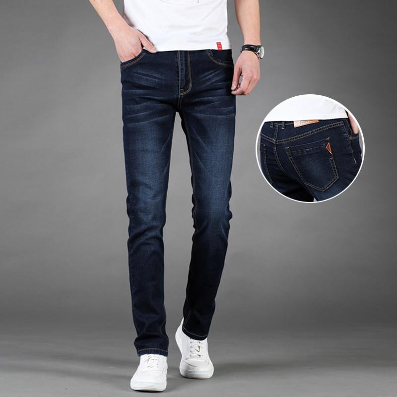 厚薄可选弹力牛仔裤男中腰直筒长裤