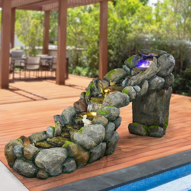 Usd large rockery water fountain fish pond water for Garden pond ornaments