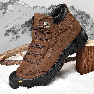 男鞋冬季皮鞋子韩版潮流男士运动休闲鞋百搭真皮潮鞋保暖加绒棉鞋