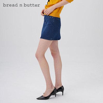 【冬焕新】bread n butter秋季女装新款牛仔短裙后插袋半身裙