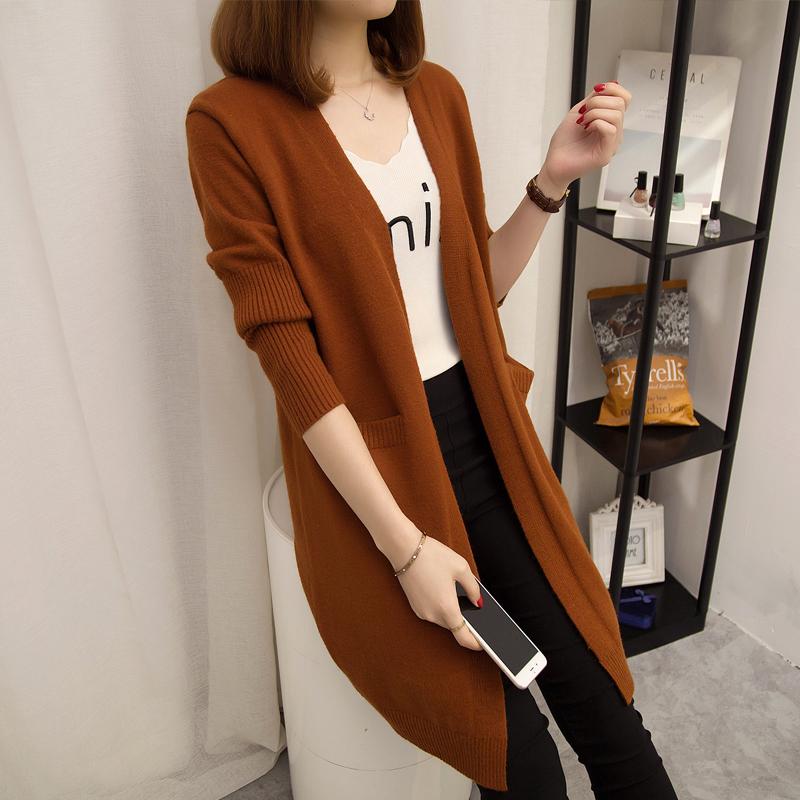 Харадзюку свитер пальто девочки длинная модель корейский 2018 новый в весенний и осенний плюс толстая внешняя взять свободный дикий вязание кардиган