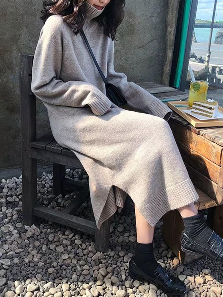 大码毛衣微胖mm减龄显瘦洋气女装长裙秋冬季胖妹妹藏肉遮肚连衣裙