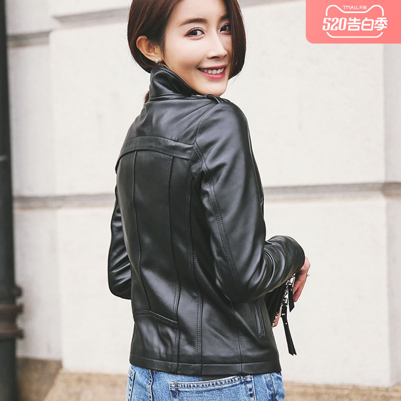 Anti-season clearance Spring and autumn new leather leather clothing women's short jacket Korean version of the trim locomotive dress sheep leather jacket