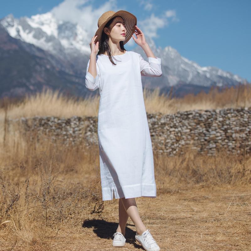 匆匆那年 夏季2018新款亚麻白色七分袖文艺棉麻连衣裙苎麻裙子