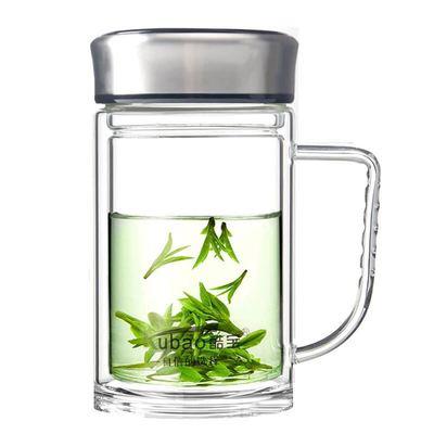 水杯大容量双层隔热玻璃杯