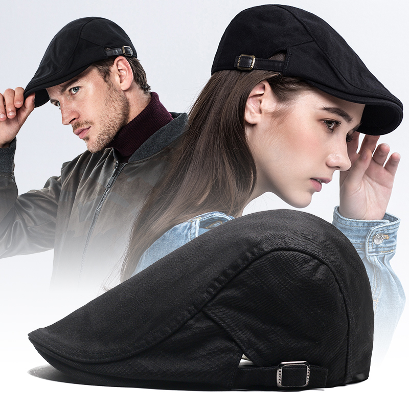 80ba8eda96e Beret cap Men Korean version of the cap Wild Black Tide hat female solid  color British