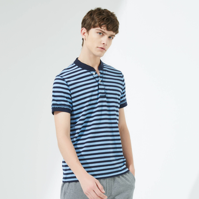 Maxwin 马威 纯棉亨利领条纹 男式短袖T恤 天猫优惠券折后¥49包邮(¥69-20)3色可选