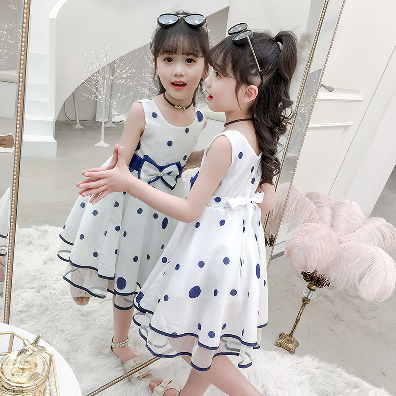 Girls dress summer 2019 new large children's clothing foreign air suspenders sleeveless princess skirt girl yarn skirt