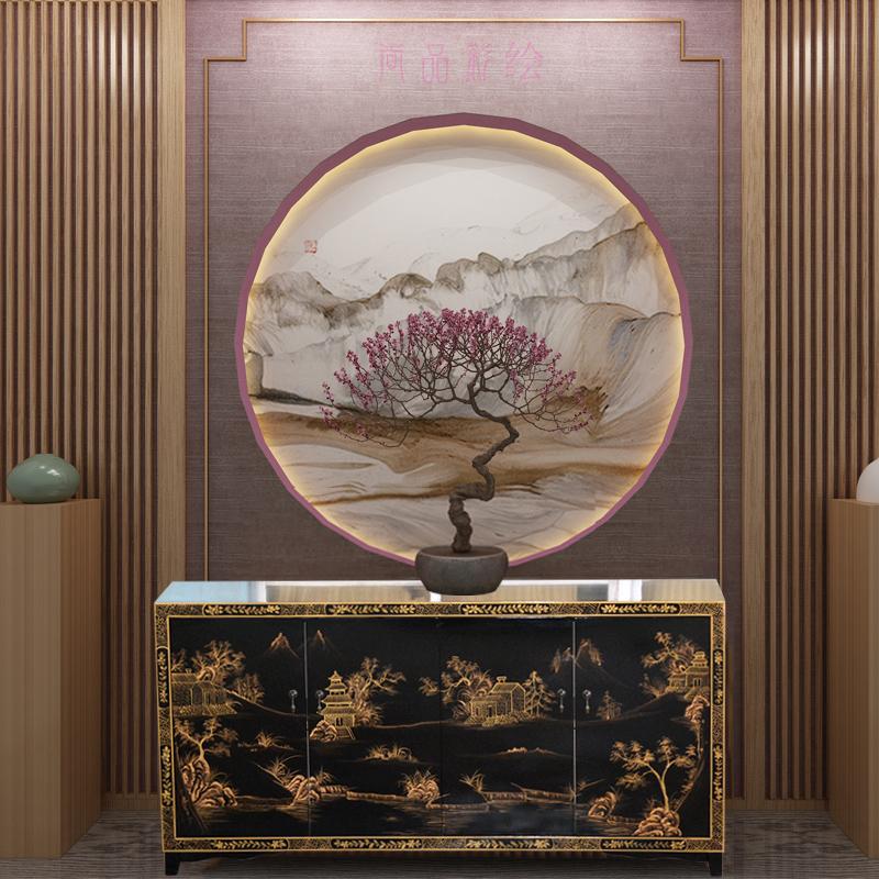 简约现代隔断一体柜新中式装饰柜客厅鞋柜多功能彩绘进门实木玄关