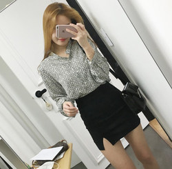 2020 autumn new Korean style bag hip skirt high waist skirt split stretch stretch one-step skirt black professional short skirt women