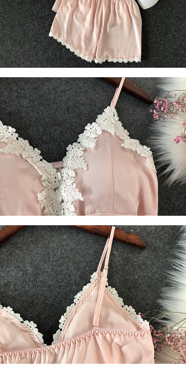 性感睡衣女夏冰丝绸薄款短袖短裤私房吊带胸垫两件套装春秋家居服