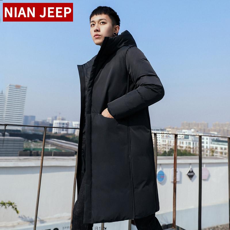 2018冬装新品中长款羽绒棉服男装韩版修身加厚连帽帅气潮流男外套
