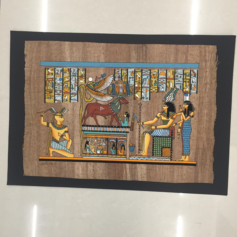 埃及纸莎画 人工手绘 生命之树冥王奥西里斯与伊西斯 埃及特产