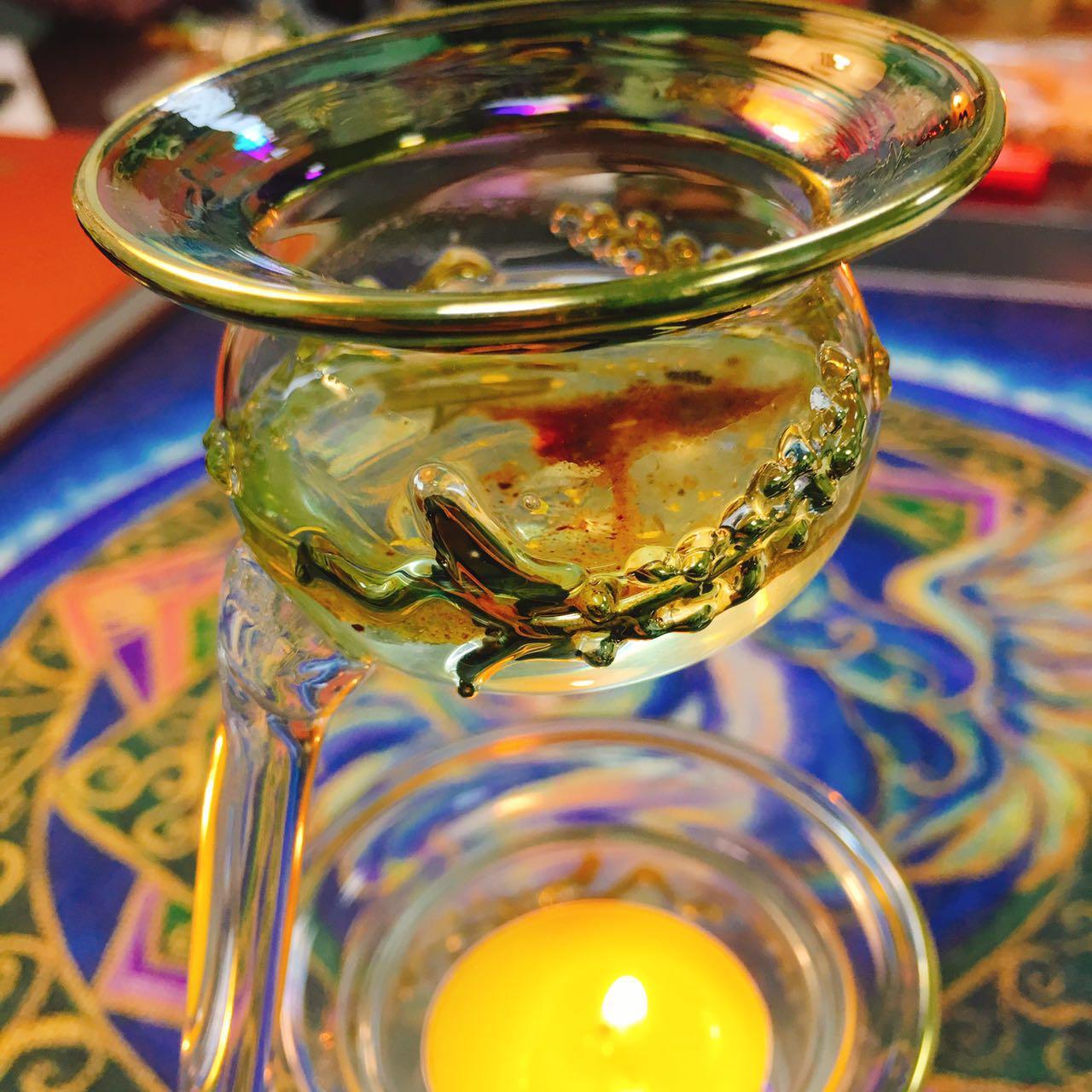 埃及特色绿龙香薰灯 蜡烛 香精瓶魔法玻璃装饰旅 祭坛仪式蜡烛