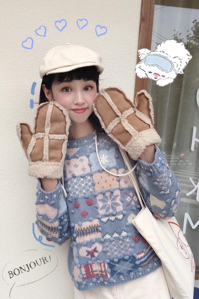 野毛豆自制仙女软妹日系古着纯手工羊毛法式钩花秋冬套头短款毛衣