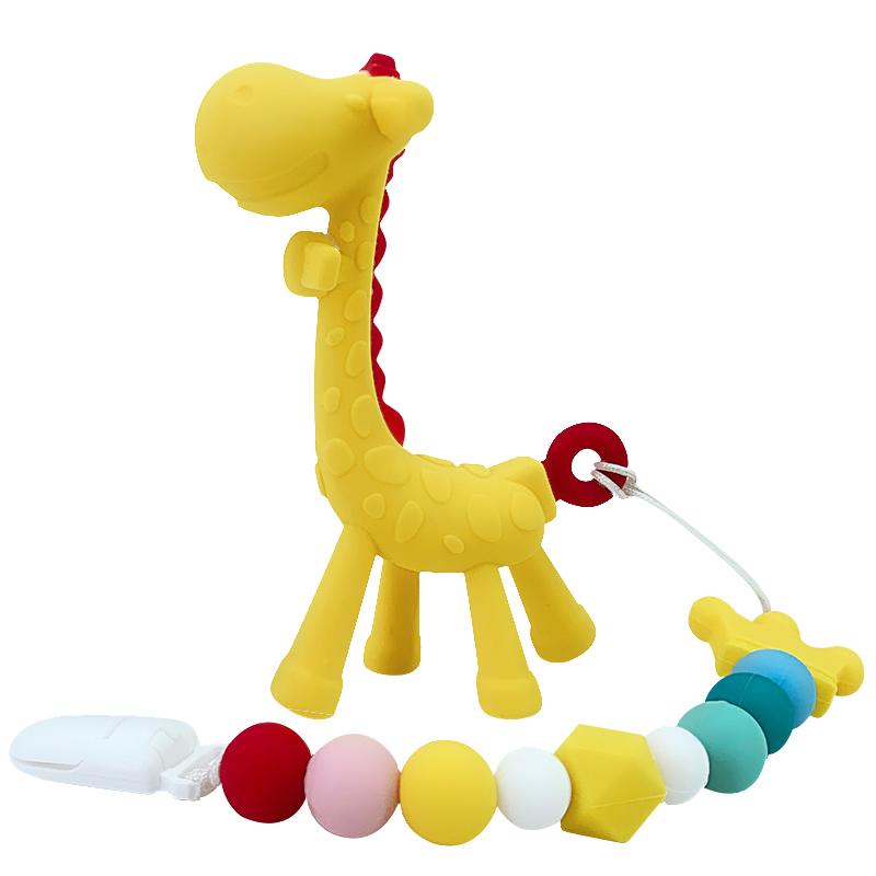 马博士长颈鹿牙胶婴儿磨牙棒宝宝硅胶玩具小鹿牙胶磨牙软可水煮