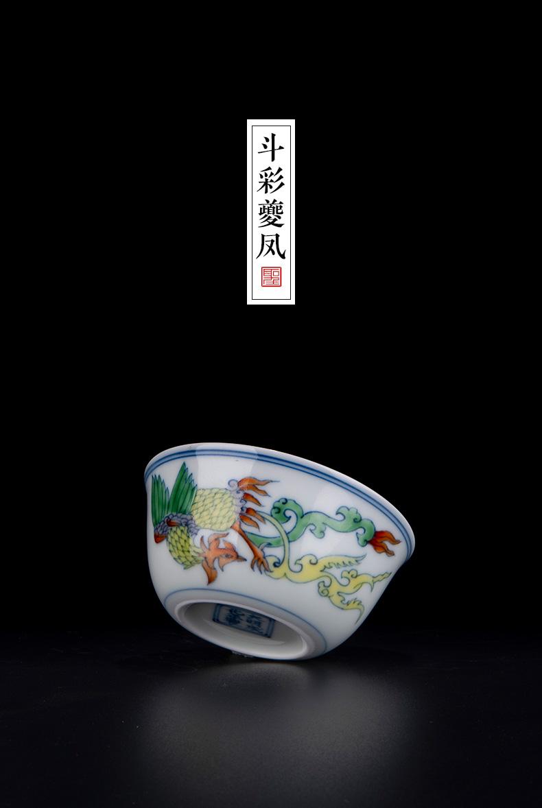 Holy big porcelain doucai bucket color real talent phoenix design cylinder cup jingdezhen high - grade pure manual hand - made kung fu tea cups