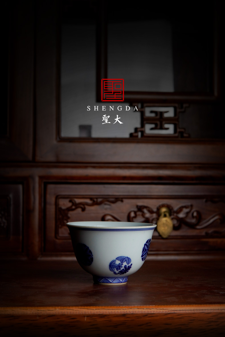St the ceramic masters cup pure hand - made porcelain ball sample tea cup flower all hand jingdezhen tea kungfu tea cups