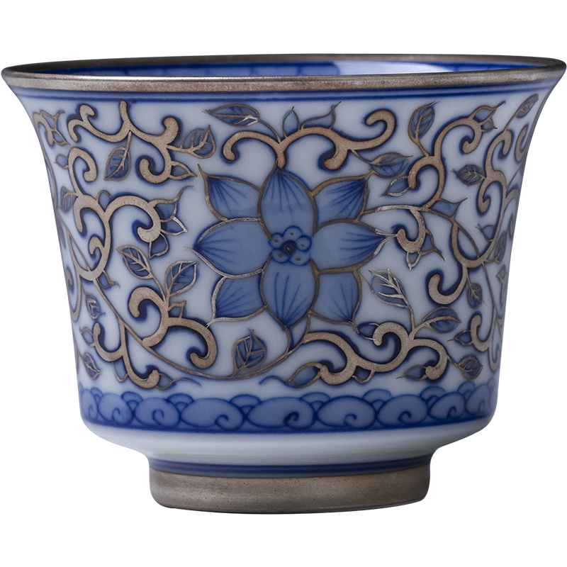 China Antique Blue and White Wrapped Lotus Double Happiness Cup Kung Fu Teacup