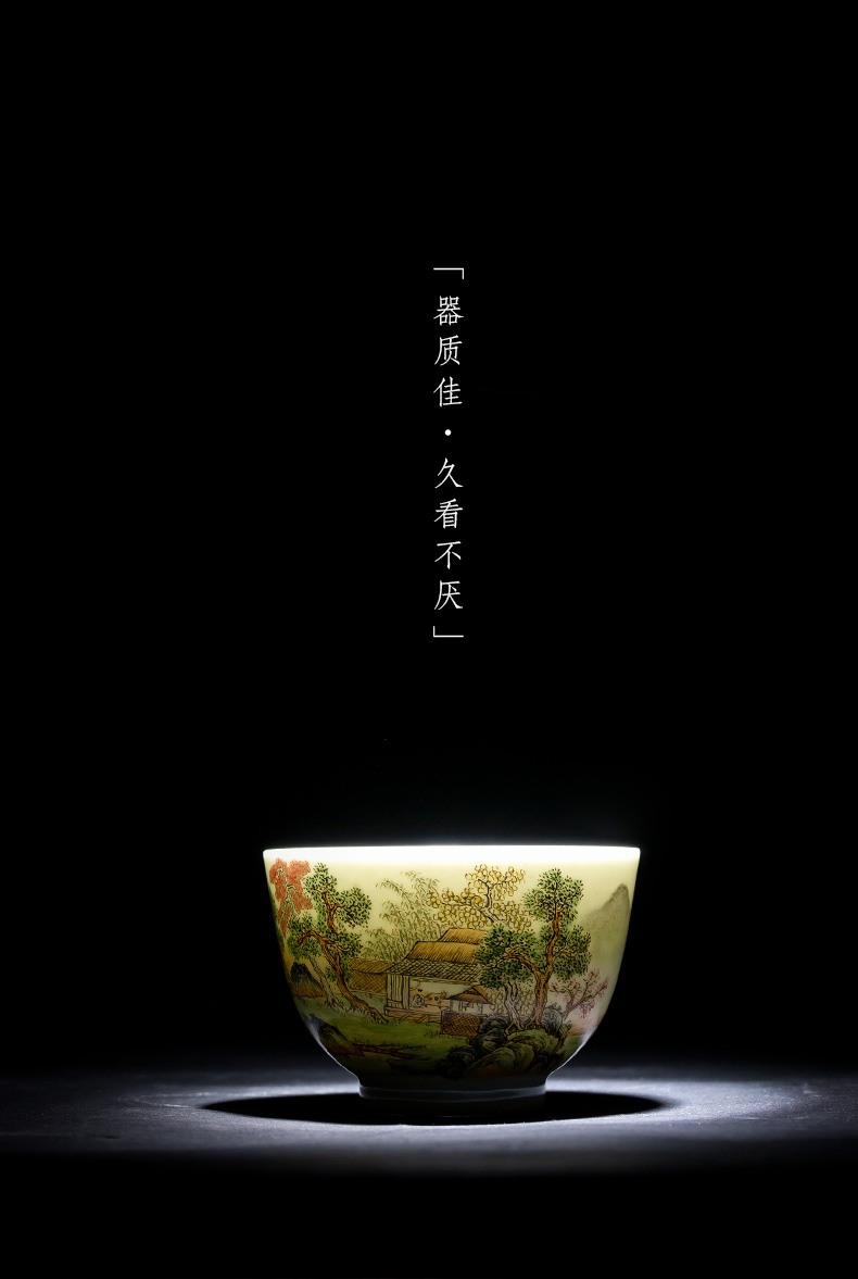 Holy big cup sample tea cup of pure hand - made ceramic kung fu pastel pine lu, xianju masters cup of jingdezhen tea service by hand