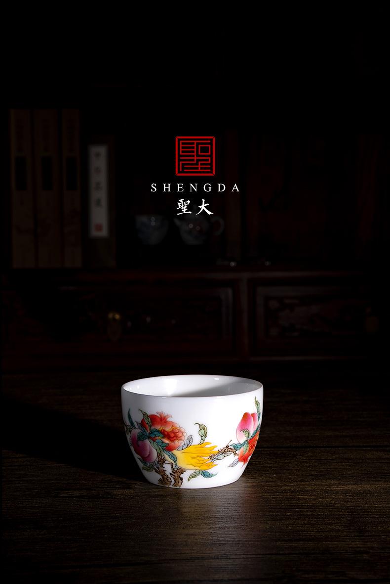 "Santa jingdezhen ceramic famille rose ""three photos"" master CPU high - end tea, pure manual hand - made kung fu tea cups"