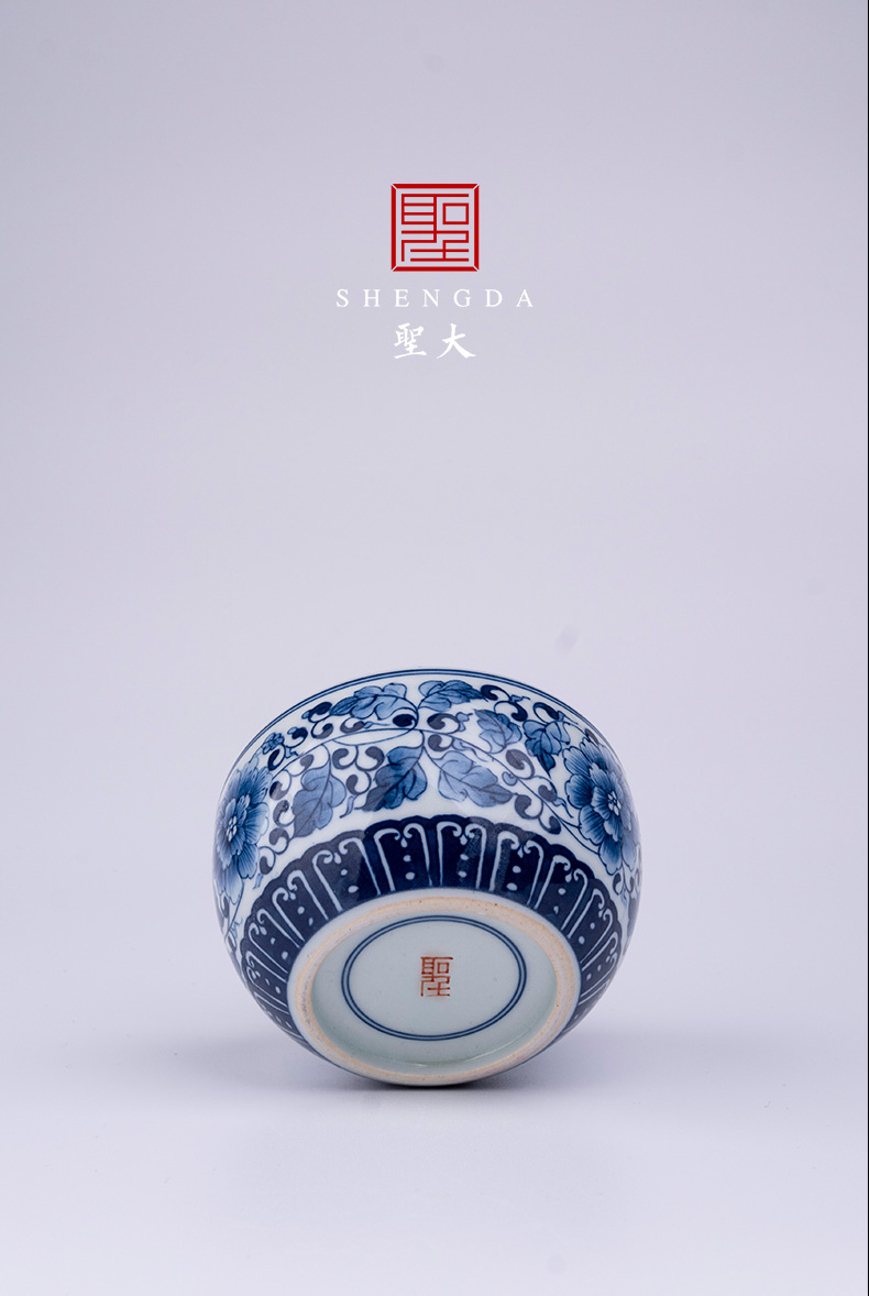 Holy big blue - and - white porcelain lotus petals edging around peony lines lie fa cup manual hand - made jingdezhen tea sample tea cup