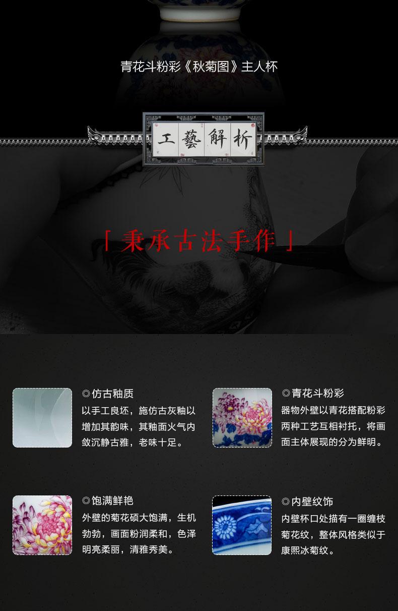 Santa jingdezhen ceramic kung fu tea cups all hand pure hand - made porcelain dou pastel lanqiu by tea masters cup