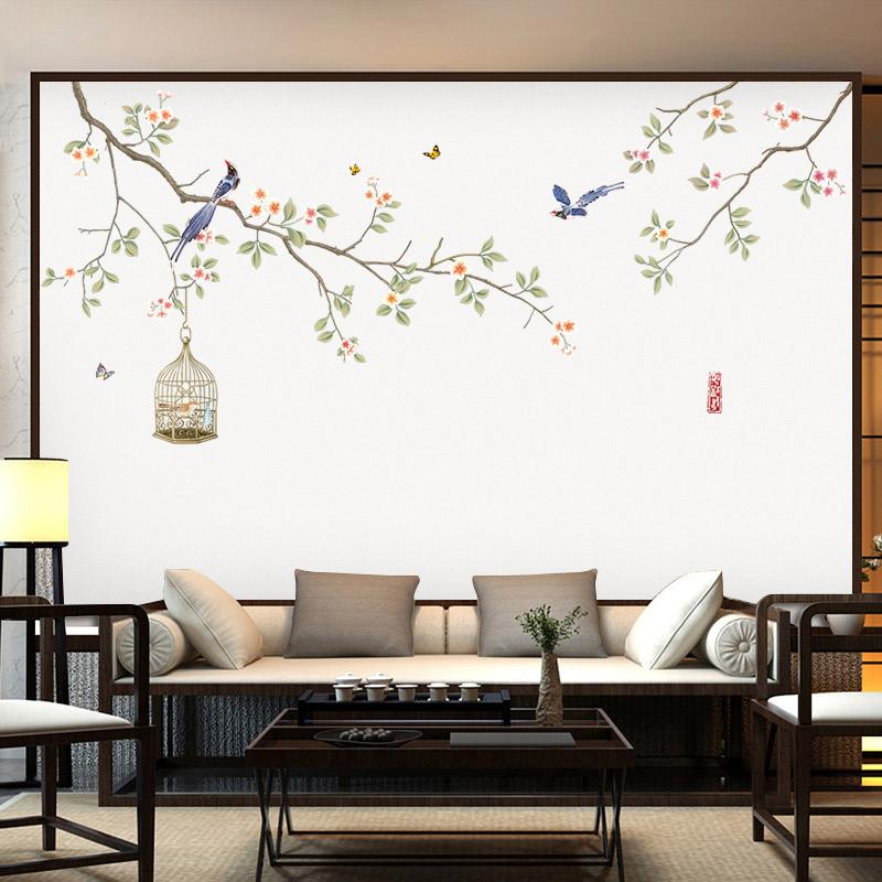 中国风墙贴客厅背景墙贴纸墙贴纸房间装饰墙贴画壁纸温馨墙纸自粘