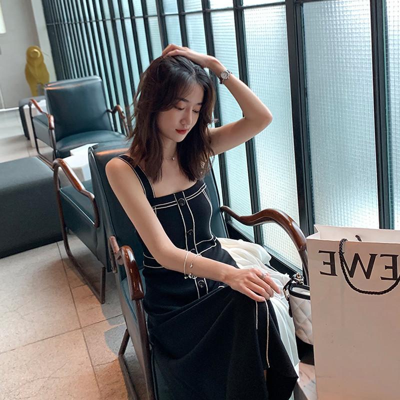 法式复古甜美桔梗仙女吊带裙2019夏季法国小众早秋轻熟气质连衣裙