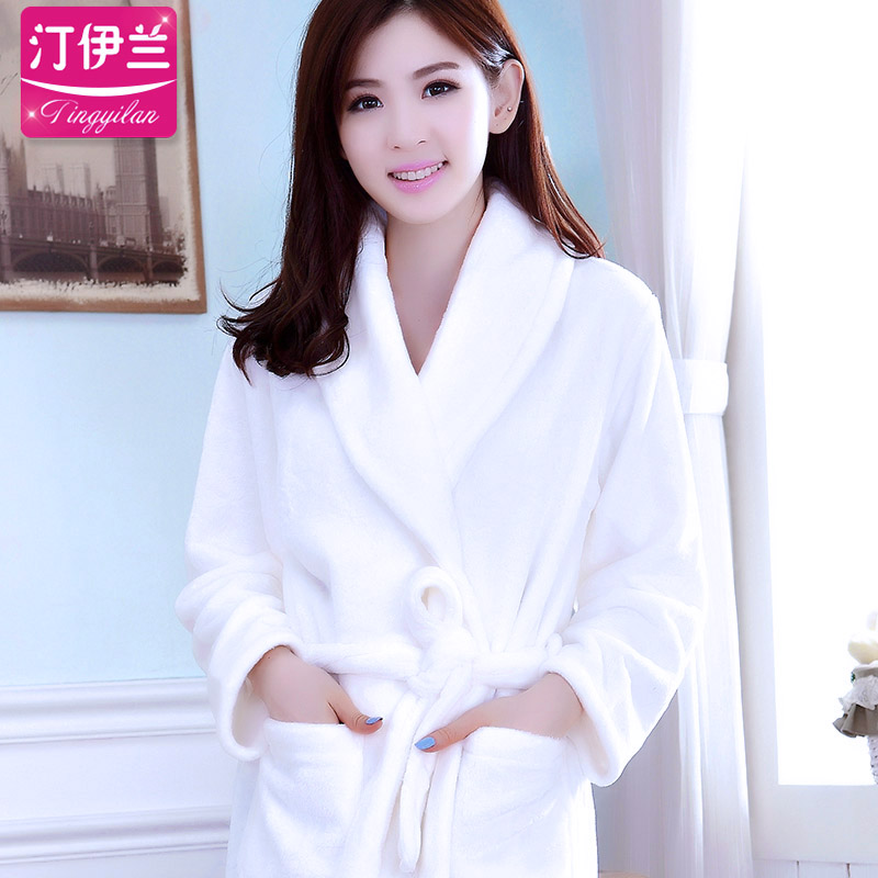 Hotel Hotel white robe pajamas autumn and winter thick flannel long-sleeved  bathrobe winter coral 8f32c25b8