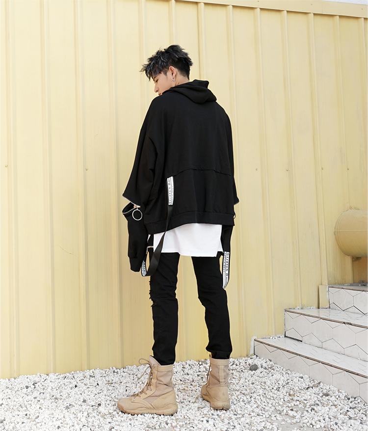Guochao high street dark đen kích thước lớn quá khổ trùm đầu áo len nam giới và phụ nữ hip hop tide thương hiệu nổi băng thông thông hat BF