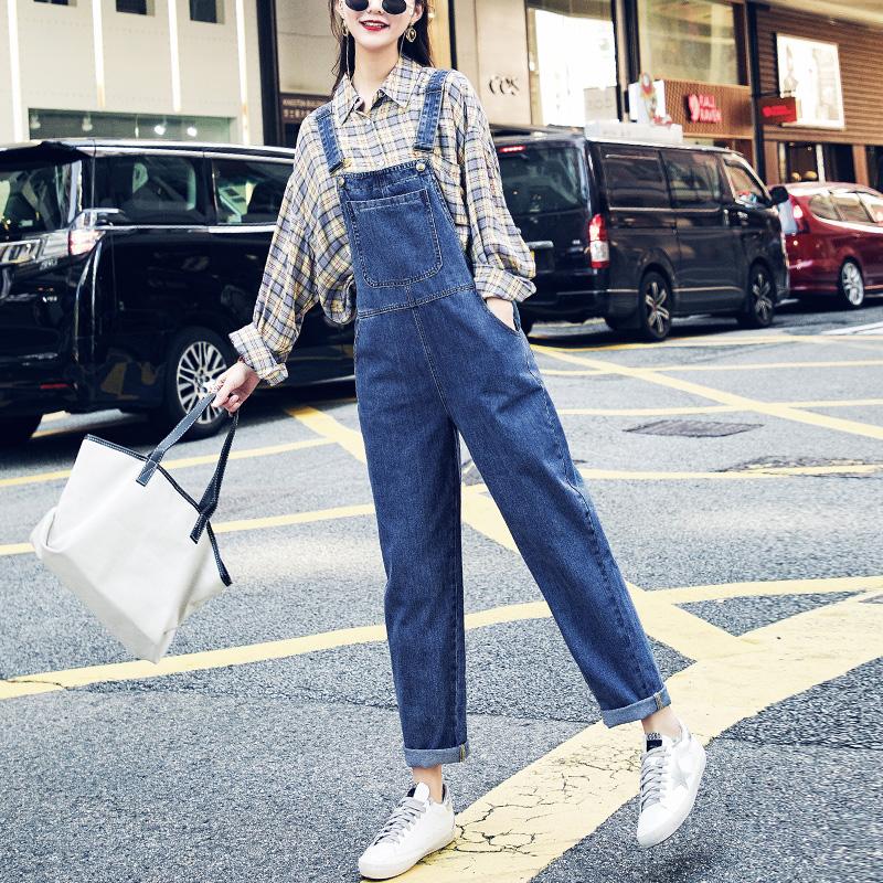 vintage网红牛仔背带裤女2019新款韩版宽松小个子森女系减龄连体