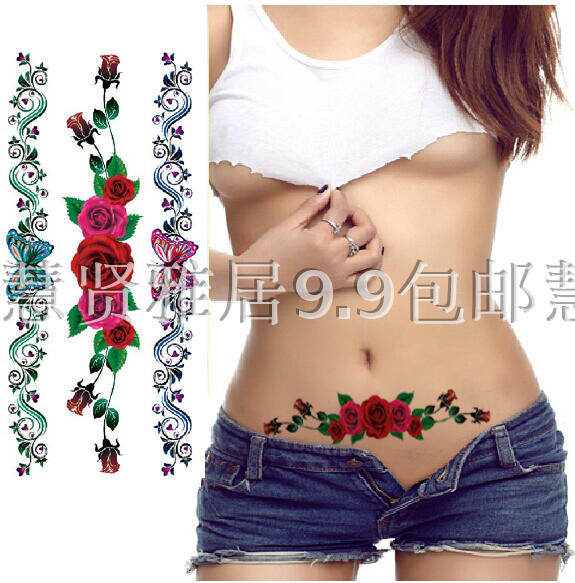 27c2d04a0 Waterproof female tattoo stickers lasting sexy cover scar invisible  caesarean section creative tattoo blue butterfly rose