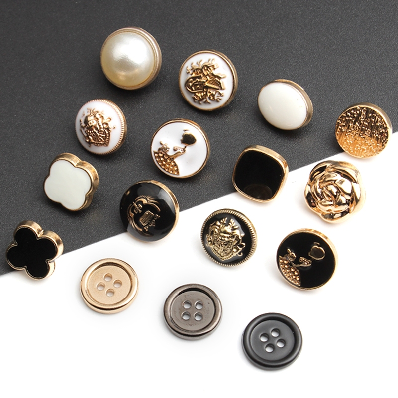 Metal shirt buttons men's and women's shirt sweater gold black round dress decorated pearl high-end button.