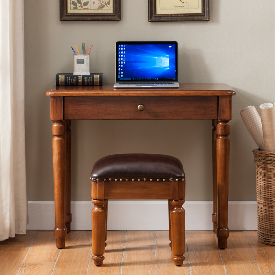 American Pure Solid Wood Desk Walnut Color Small Simple Desk Home Office  Office Computer Learning 1 Meter Desk
