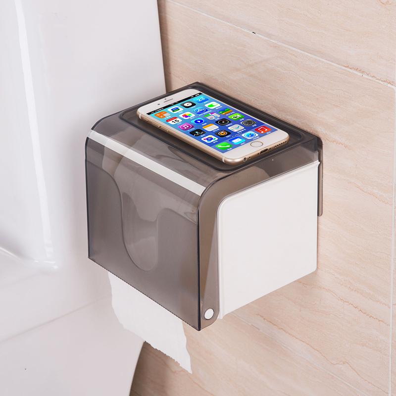 双庆卫生间纸巾盒免打孔厕所纸巾架抽纸防水卷纸盒卫生纸盒置物架