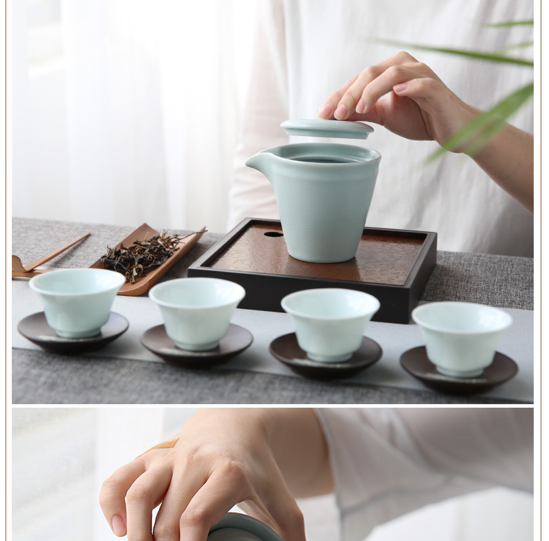 Your up hand grasp three frequently hall pot of single crack cup pot of jingdezhen ceramics slicing can have tea, tea set S24022