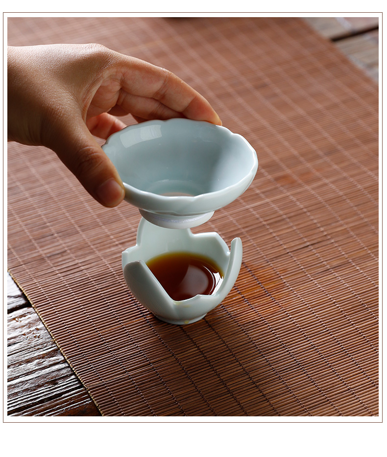 Three frequently hall make tea tea filter ceramic) screen pack kung fu tea tea with parts of jingdezhen shadow celadon