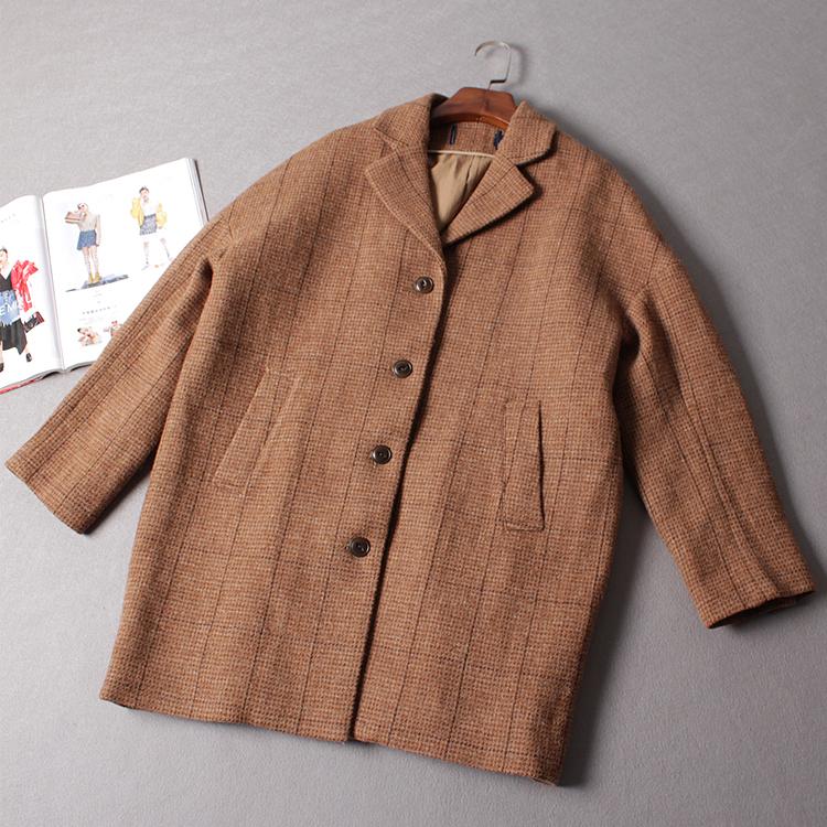 Chất lượng cao, chất lượng tốt, ánh sáng sang trọng Áo khoác len kẻ sọc của phụ nữ Anh, áo khoác dày kén dài hình kén nữ - Accentuated eo áo